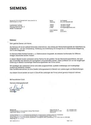 Siemens Referenzschreiben für die Lackiererei Lehner
