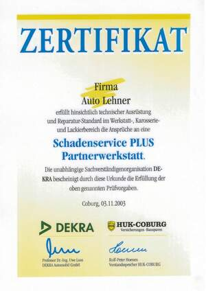 ZERTIFIKAT - DEKRA & HUK COBURG