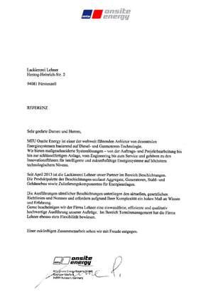 MTU Referenzschreiben für die Lackiererei Lehner